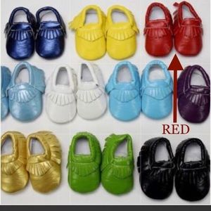 Other - Red Traditional Moccasin  0/3m - 18/24m